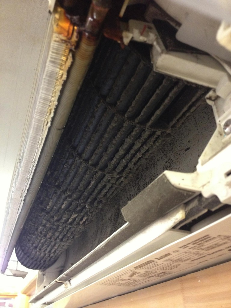 Dust accumulated on indoor unit fan